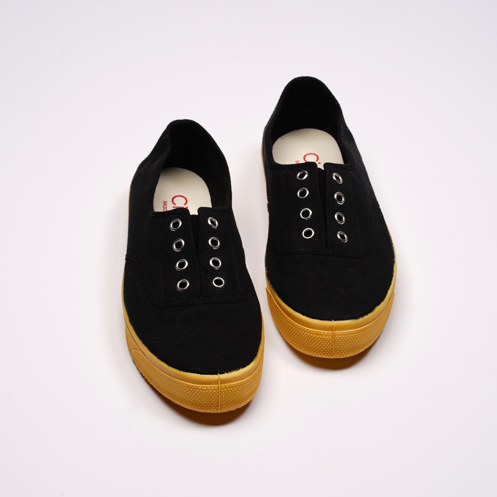 CIENTA 西班牙國民帆布鞋 J10997 01 黑色 黃底 經典布料 大人