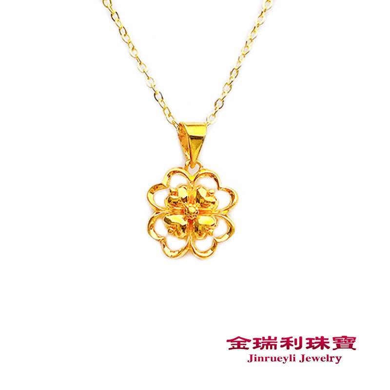 金瑞利珠寶9999純金 幸運女神0.43錢3D硬金黃金金墜 含純銀鍍金項鍊