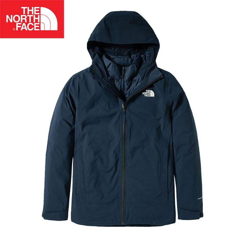 【The North Face 美國】男款羽絨兩件式防水透氣連帽外套 藍/北臉羽絨外套/防水外套NF0A4N9TU6R