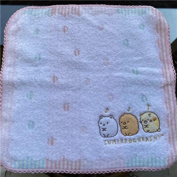 原單小確幸~日本進口 角落生物 精美蕾絲邊可愛純棉小方巾B/25*25//特價一條109二條200
