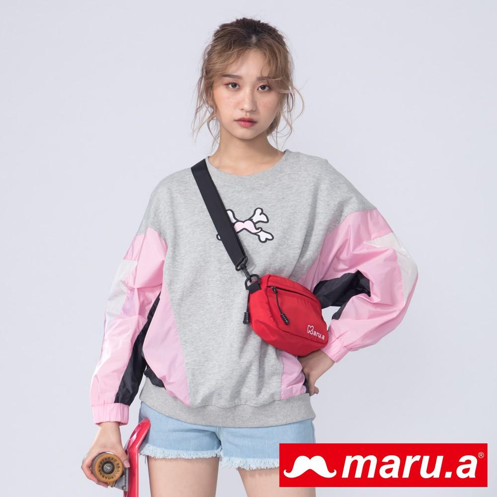 maru.a (99)胸口個性印花拼接上衣(共二色)