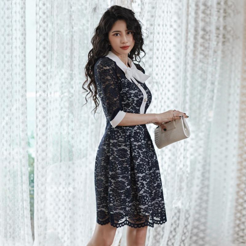 甜美蝴蝶結領正韓蕾絲洋裝名媛收腰尾牙洋裝a字裙及膝連衣裙