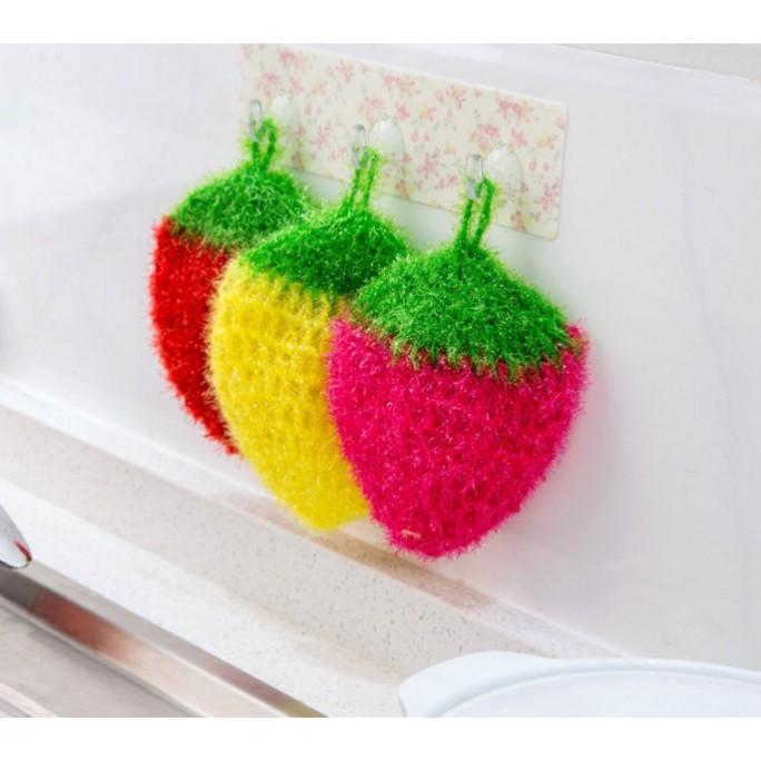 韓國草莓水果洗碗巾 壓克力條絲 手工鈎織洗碗布 清潔布 易起泡清潔巾台灣現貨不必等