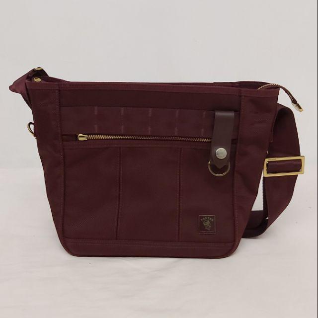 二手正品八成新porter暗紅色側背包斜肩包 可放A4大小和雜誌 酒紅色