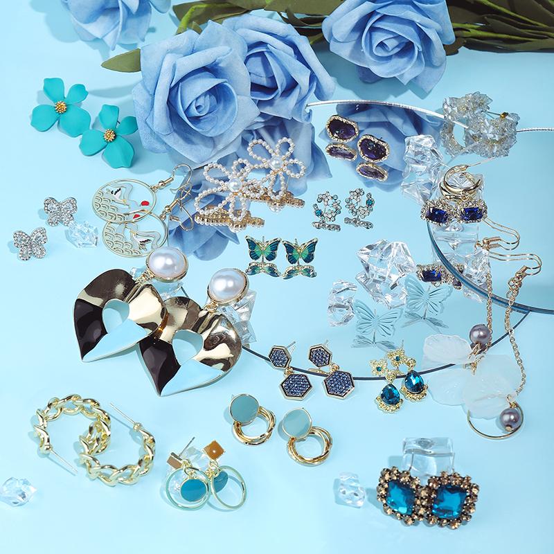 (16款)藍色夢幻耳環系列【DDFI】鋯石 水晶 鑲鑽 長款 款式 風格 多樣 甜美 優雅 耳飾組合 A2C09