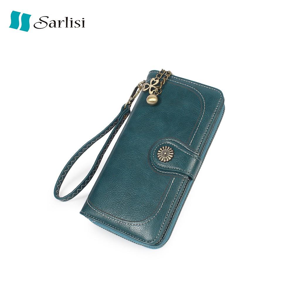 【Sarlisi 】夏麗絲女式零錢包長夾油蠟皮手拿包長款手機包
