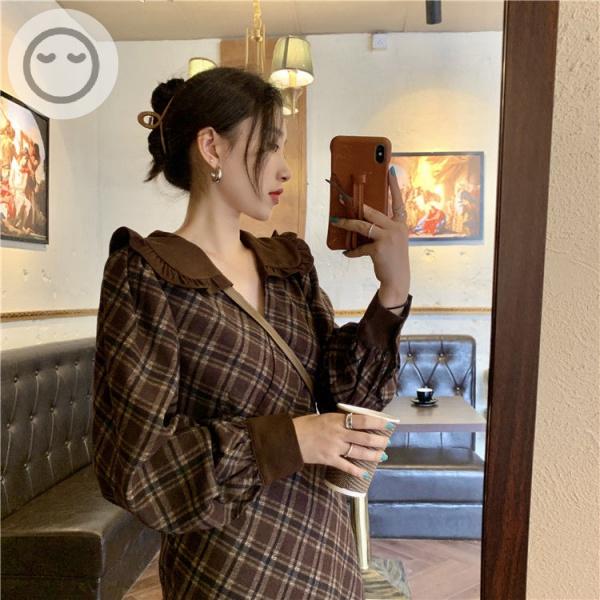 現貨CP值爆表 復古格子連衣裙 長袖洋裝 顯瘦洋裝 氣質洋裝 長洋裝韓版洋裝 復古洋裝 性感洋裝女生長裙