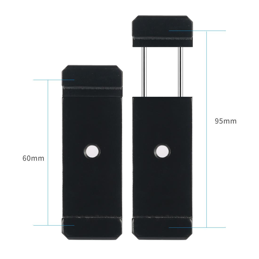 鋁合金菱形雙孔手機夾 補光燈熱靴夾 大屏手機自拍杆金屬夾