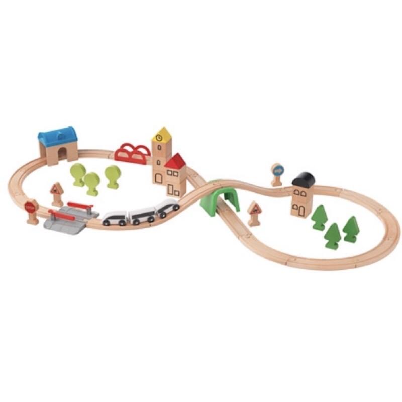 ikea木製玩具火車附軌道 LILLABO 45件組/20件/電動車/車庫/橋樑/轉車台