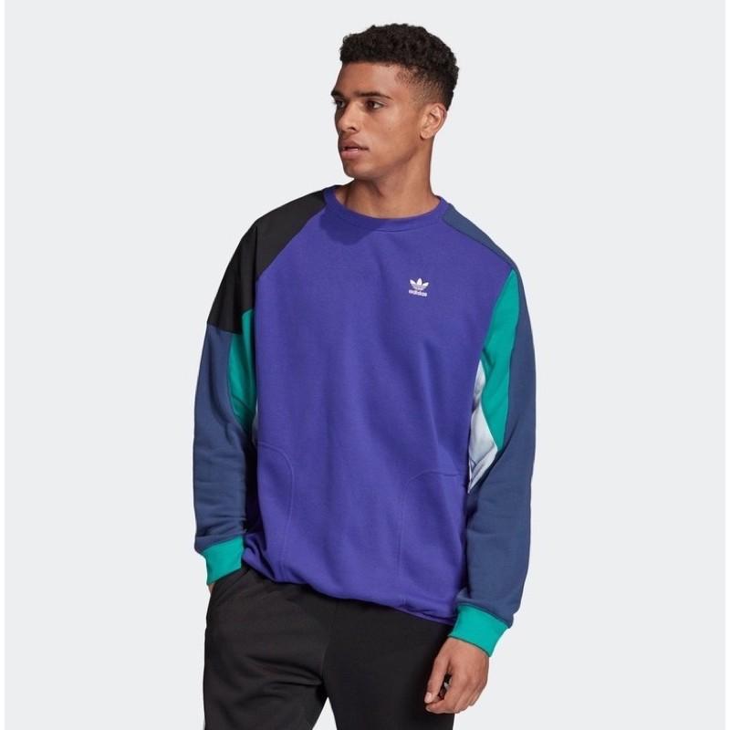 【妮妮】Adidas 愛迪達 男款 拼色 衛衣 長袖 大學T 款號 : FM3697