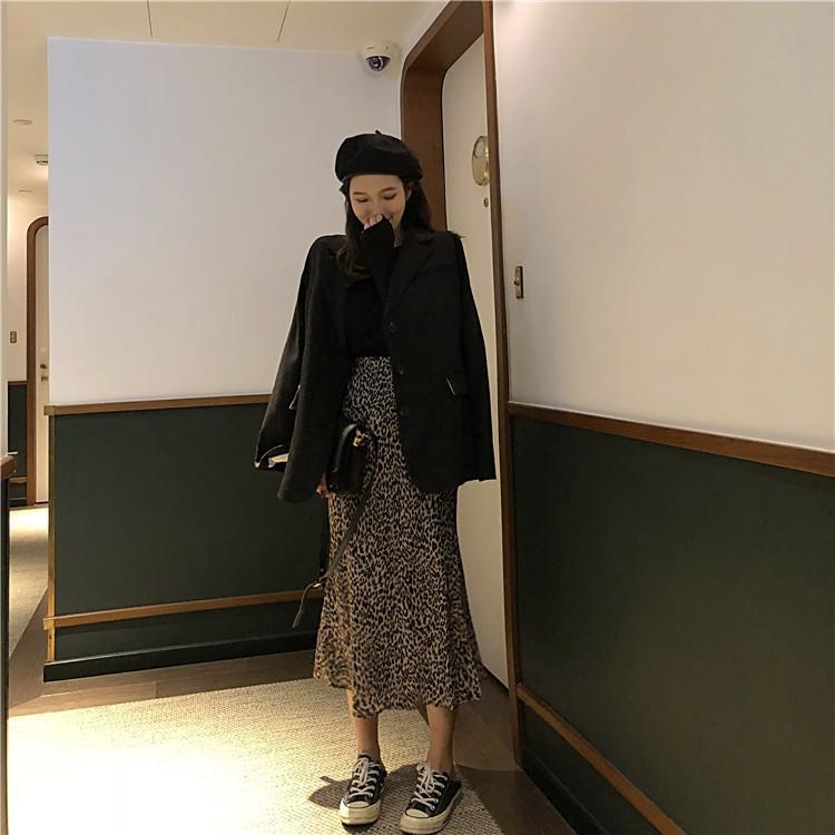 重磅推出特價秋裝女2020新款chic時尚豹紋中長款高腰半身裙女包臀修身顯瘦裙子