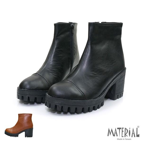 短靴 極簡拼接厚底短靴 T3184