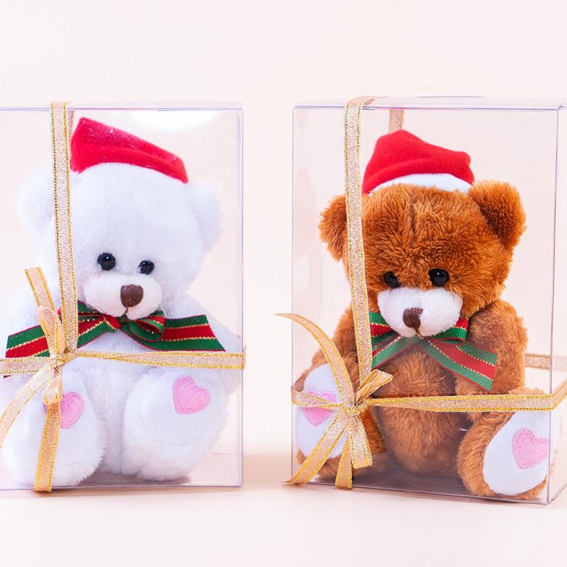 甜心盒裝聖誕小熊 坐姿13公分 聖誕禮物 耶誕禮品 裝飾小物(單隻)附透明盒~*小熊家族*~泰迪熊專賣店~
