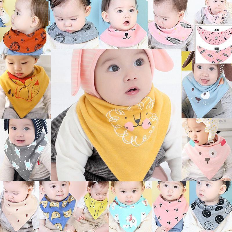 【限時促銷】【優惠價】0-5歲兒童三角巾加大款寶寶口水巾大號彈性雙面按扣圍嘴時尚純棉