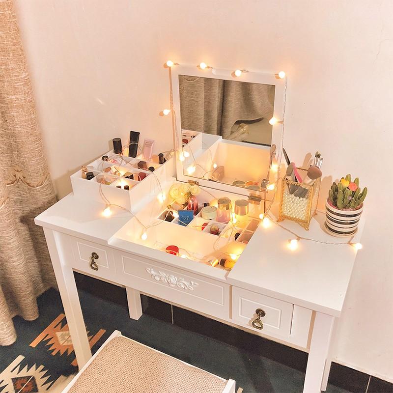 歐式梳妝台臥室小經濟型 省空間現代簡約化妝桌翻蓋ins網紅化妝臺