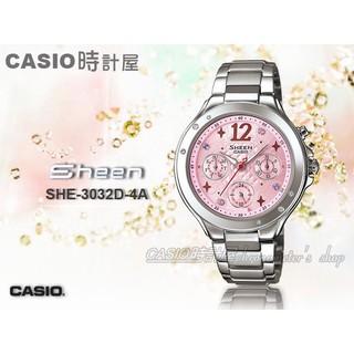 CASIO 時計屋 手錶 SHEEN_SHE-3032D-4A_三眼_施華洛世奇_不鏽鋼_霓虹_SHE-3032D 台中市