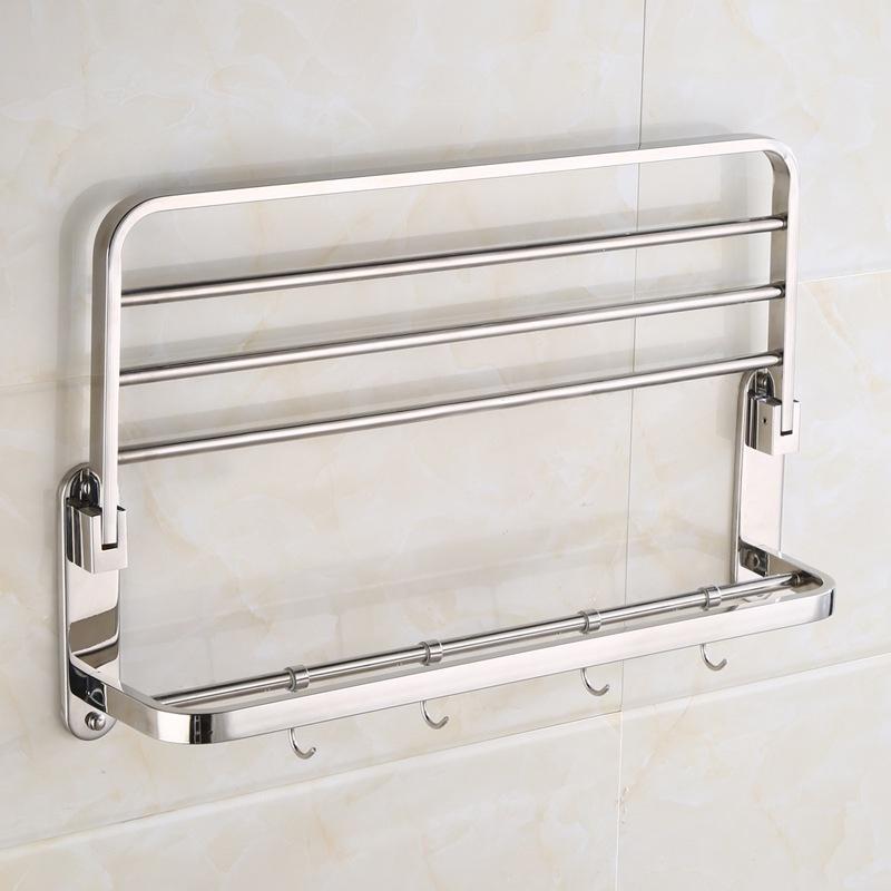 摺疊毛巾架不鏽鋼304酒店浴巾架衛生間衛浴五金掛件浴室置物架