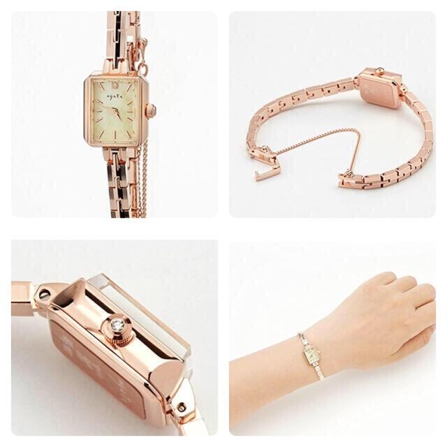 AGETE 玫瑰金方臉金屬手錶 輕珠寶手表 正品 Nojess Ete 系列品牌
