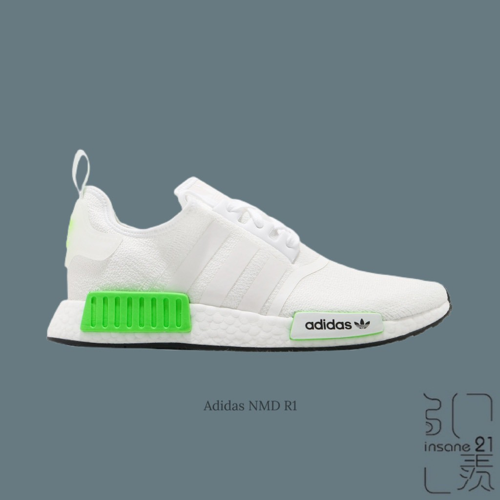ADIDAS ORIGINALS NMD R1 BOOST大底 全白 螢光綠 休閒 FX3096【Insane-21】