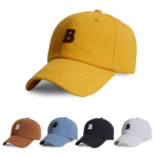 帽子男棒球帽B字母刺繡 老帽素色棒球帽潮帽女生帽子carhartt 帽子阿美咔嘰復古白色鴨舌帽