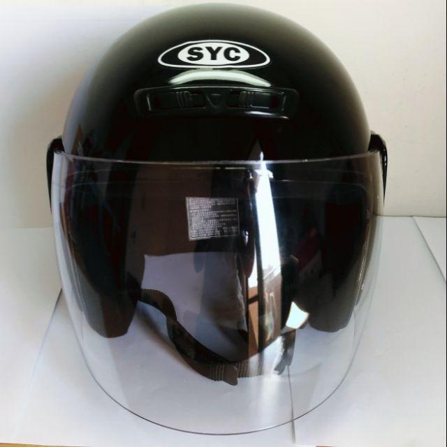 全新SYC黑色亮面安全帽