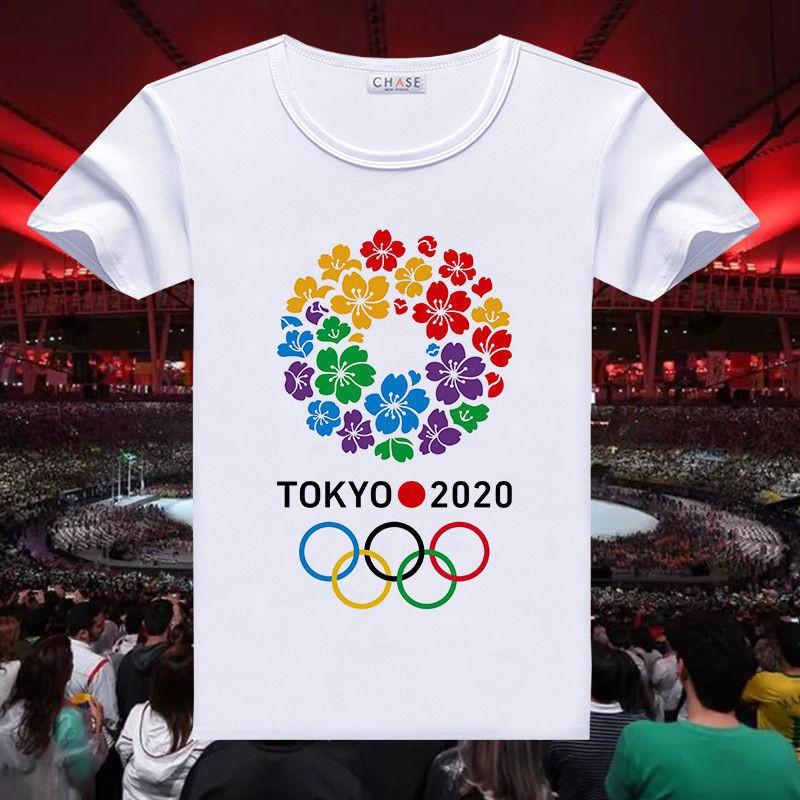 【台灣發貨】東京奧運 東京奧運紀念品 2021東京奧運會T恤男女學生五環標志吉祥物衣服團隊定制文化衫潮 東京奧運會