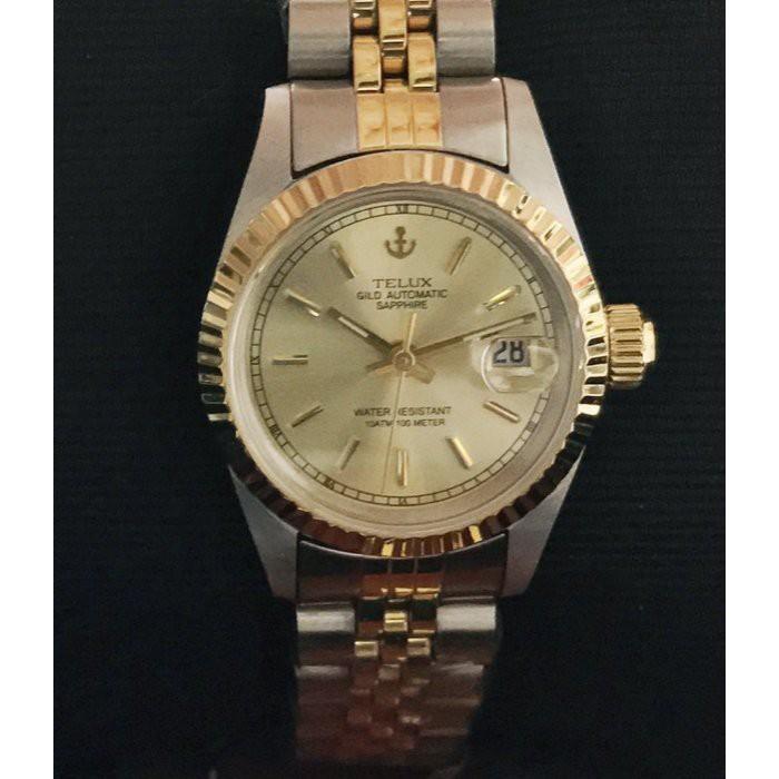 【神梭鐘錶】TELUX WATCH 瑞士自動上鍊eta2671機蕊勞力士款高級10金刻劃面五珠中金女妝機械腕錶