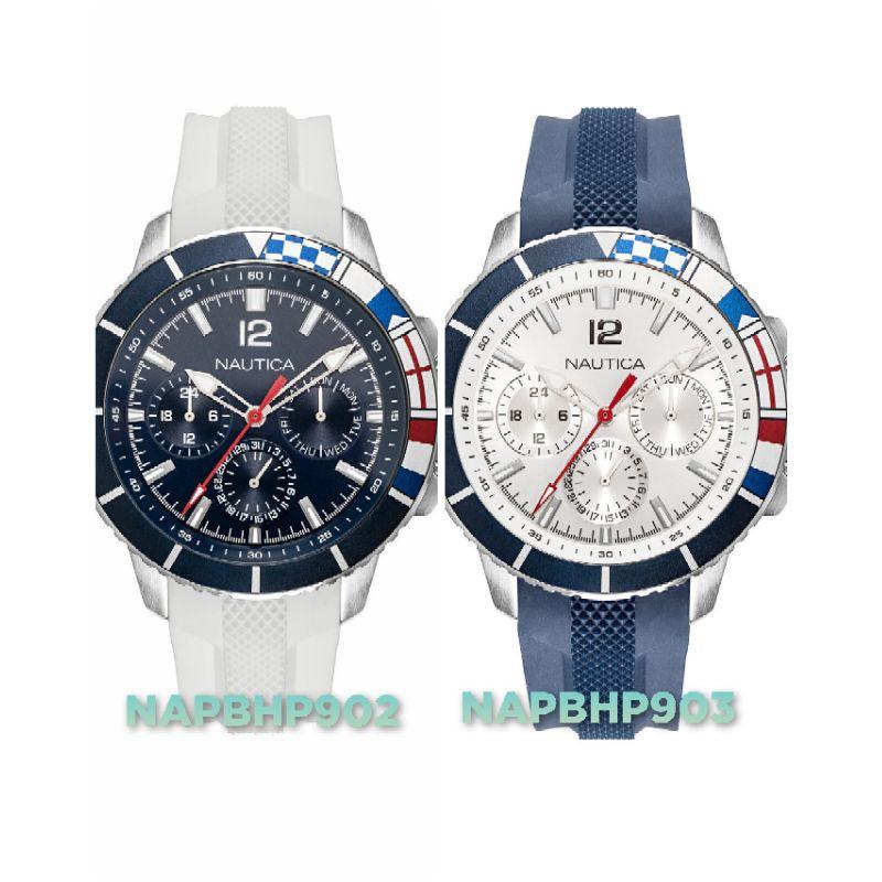 Nautica 男錶 灣河系列 防水100米 46mm 銀色藍色錶盤 矽膠手錶 潛水錶