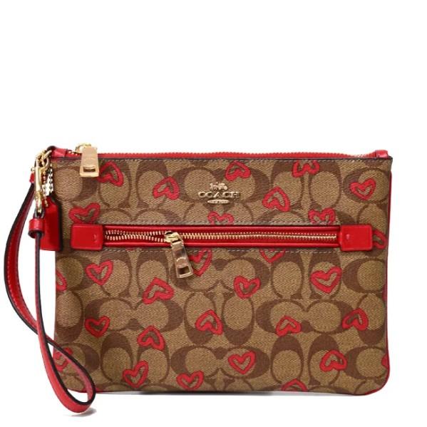 COACH 91542 超大款 手拿包 手提包 防刮PVC皮革 超大款 手提包 手機包 手拿包 紅色愛心(現貨)