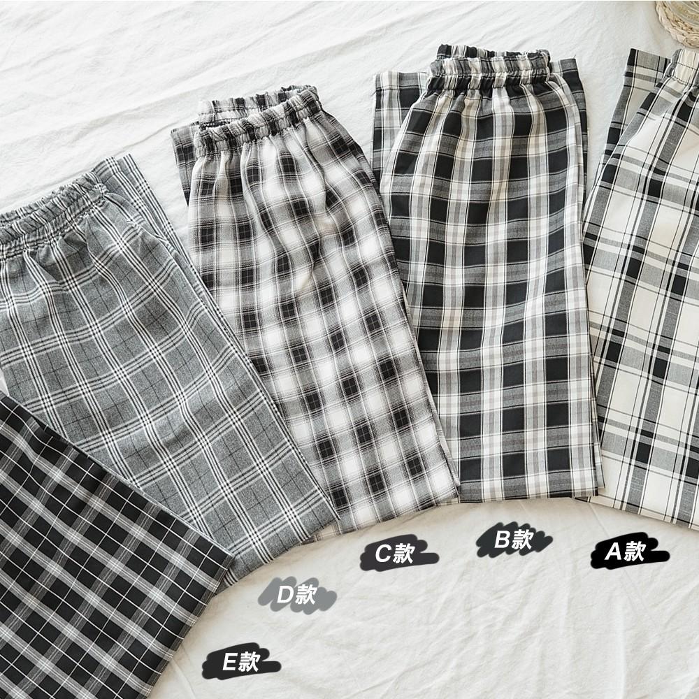 洋芋妹-格紋知性彈性腰圍休閒寬褲 5色【SB13027】