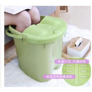 台灣現貨 泡腳桶塑料家用加高加厚帶蓋泡腳盆過小腿便攜高深桶洗腳桶足浴盆