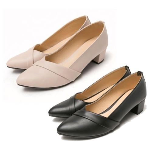 【白鳥麗子】高跟鞋 拼接素面皮革跟鞋