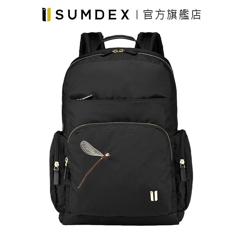 Sumdex 都會商務雙層電腦後背包(蜻蜓版) NON-776BK-DT 黑色 官方旗艦店