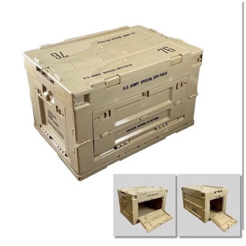(圓仔)【限定版沙色、軍綠色】 美軍塗裝款 軍事風折疊側開收納箱 工具箱 生存 露營 釣