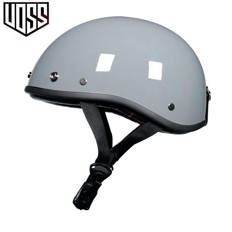 $台灣現貨$VOSS復古頭盔男女哈雷半盔電動摩托車夏季輕便式安全帽瓢盔小盔體