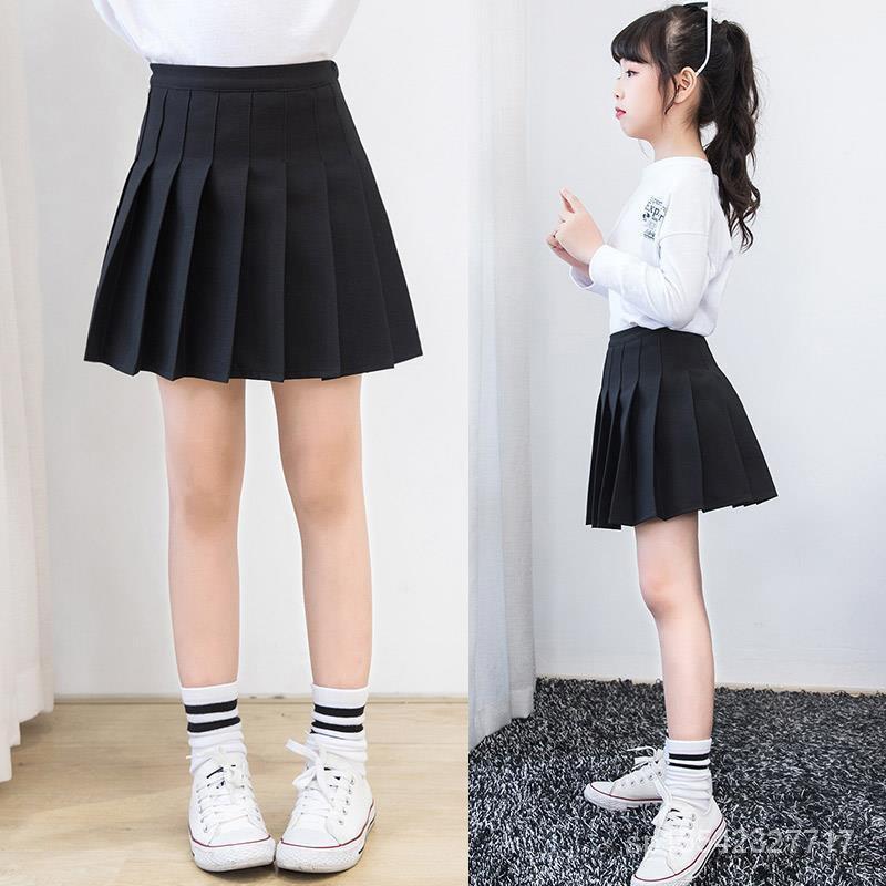 女孩半身裙黑色短裙兒童洋氣新款女童夏天韓版百褶裙夏裝夏季