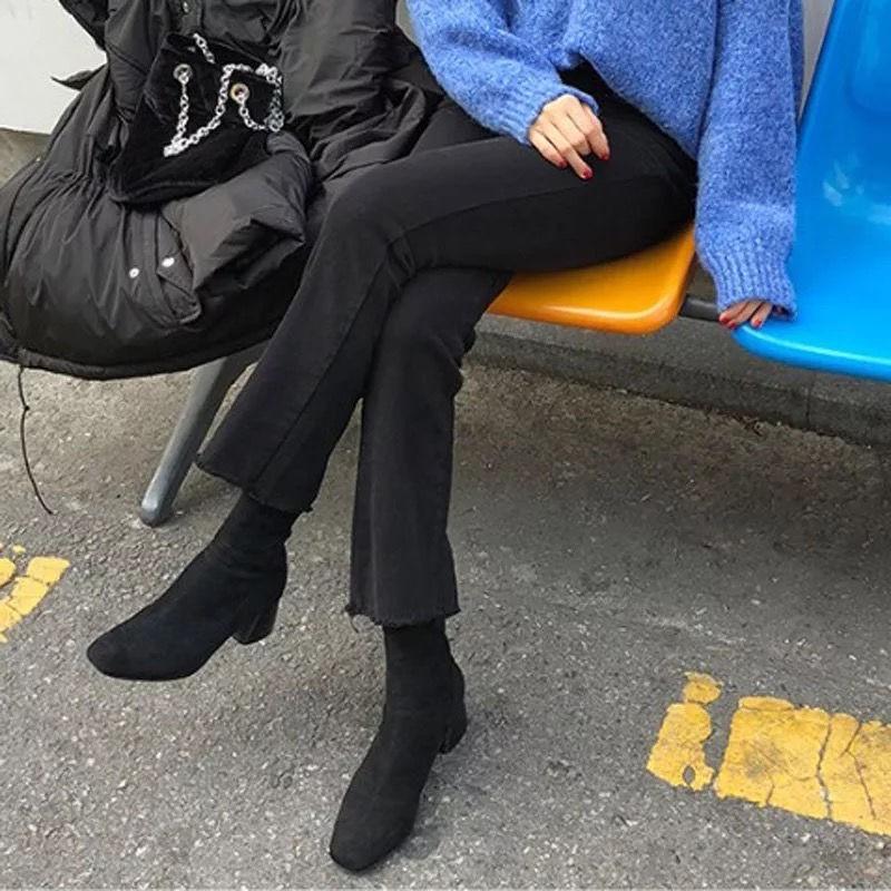 胖mm大碼200斤韓版顯瘦八九分微喇叭牛仔褲女學生闊腿寬松小個子