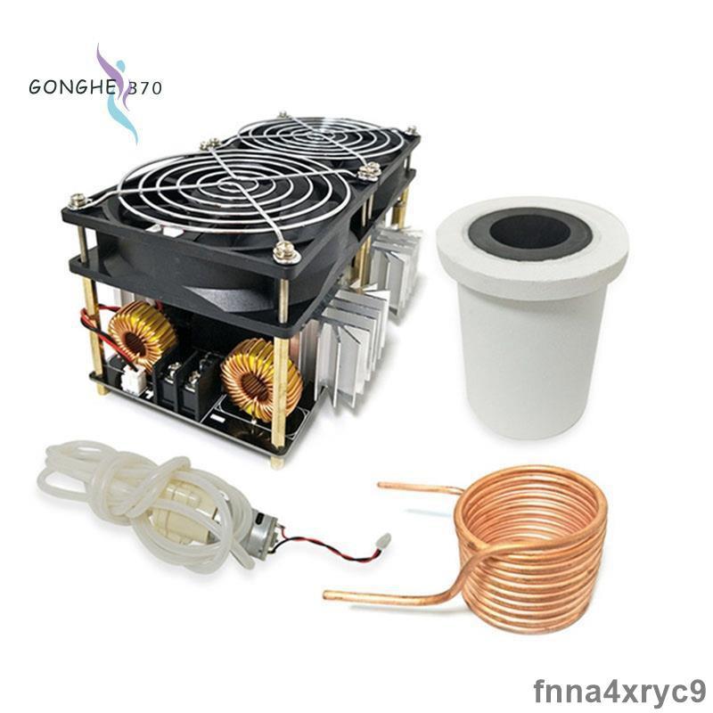 【阿離】2500W ZVS感應加熱器高頻感應加熱PCB板熔融金屬+線圈+坩堝+泵