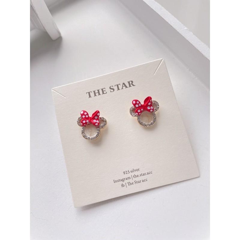 The Star |現貨|聖誕系列 蝴蝶結耳環 Minnie耳環 純銀耳環 米妮耳環