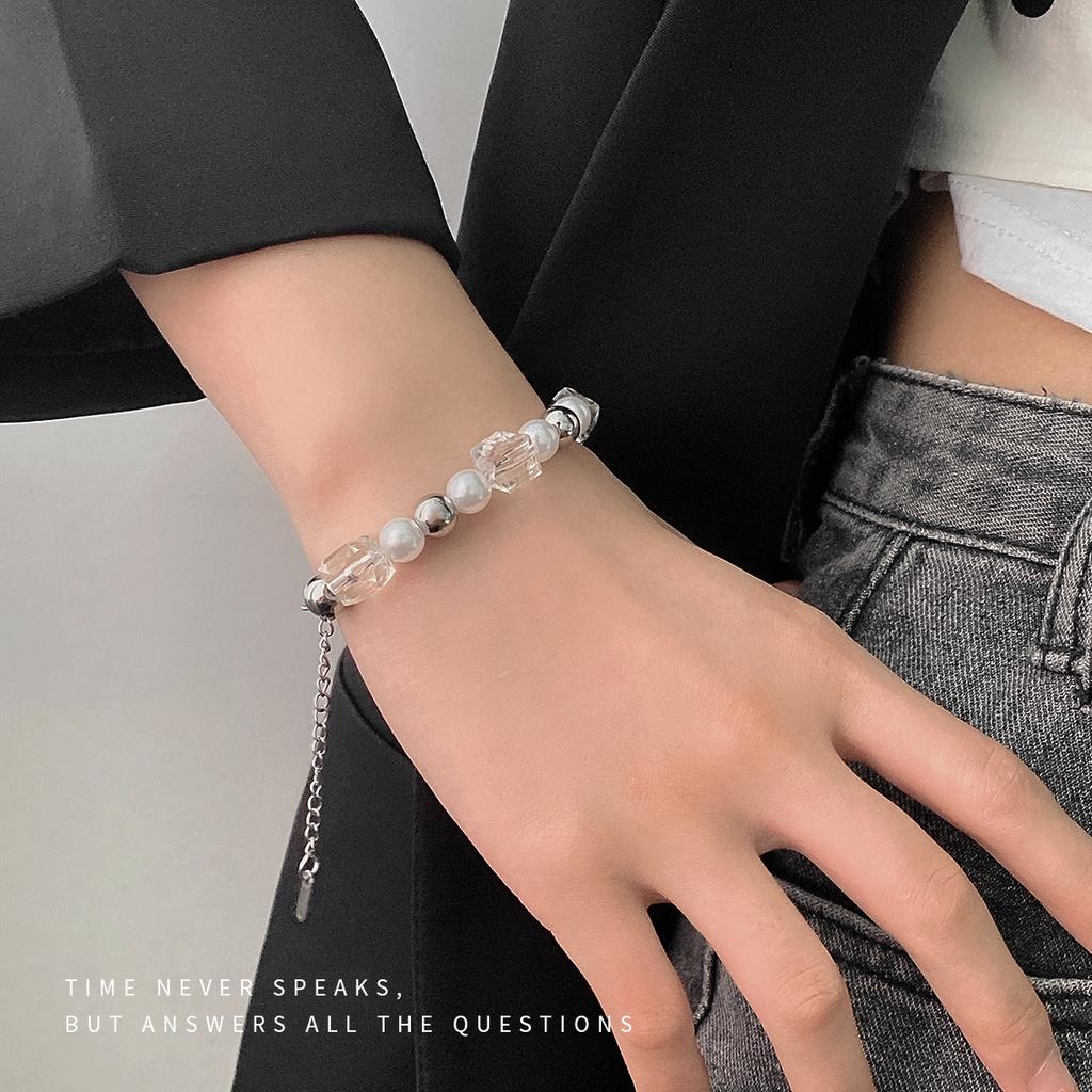 「現貨」冰塊創意女式小眾設計感珍珠水晶琉璃拼接鈦鋼手鍊嘻哈冷淡風手環