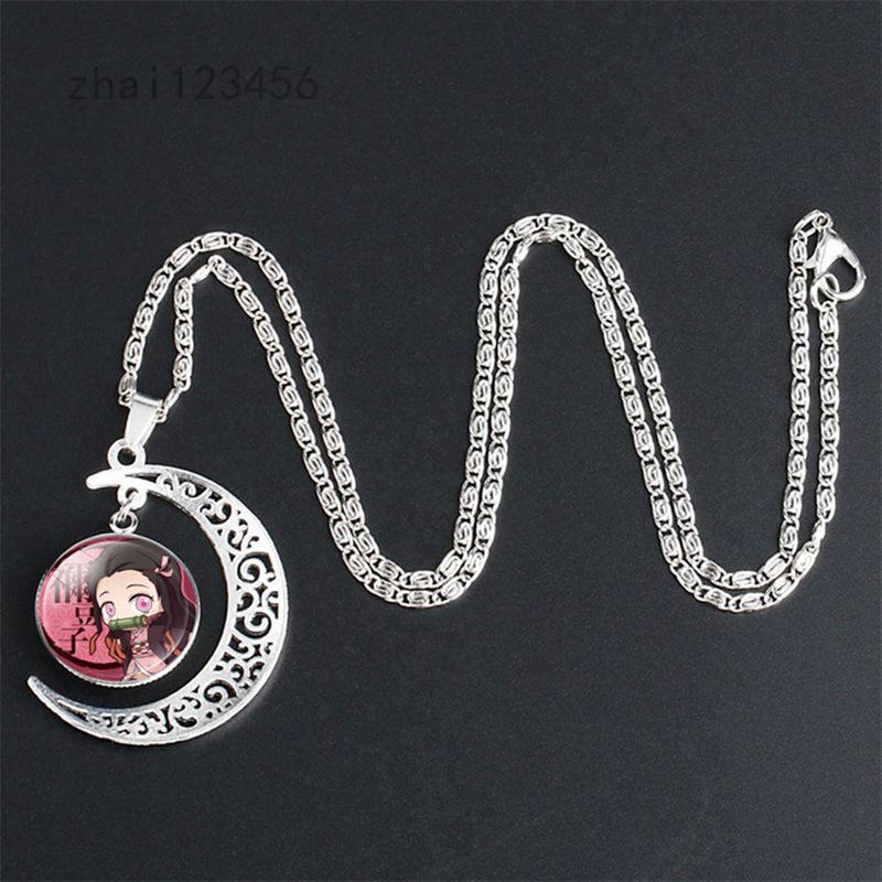 Zhai123456 鬼滅之刃 灶門炭治郎 月亮寶石吊墜項鍊 動漫周邊飾品