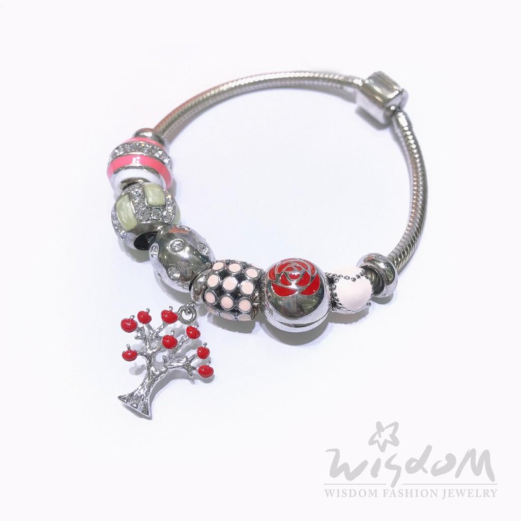 威世登 蘋果樹潘朵拉串飾銀手鍊 SC00091-HAXX