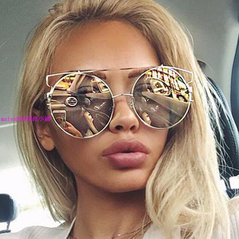 新款歐美時尚女士金屬圓框炫彩炫酷太陽鏡多色 潮流女士大框墨鏡