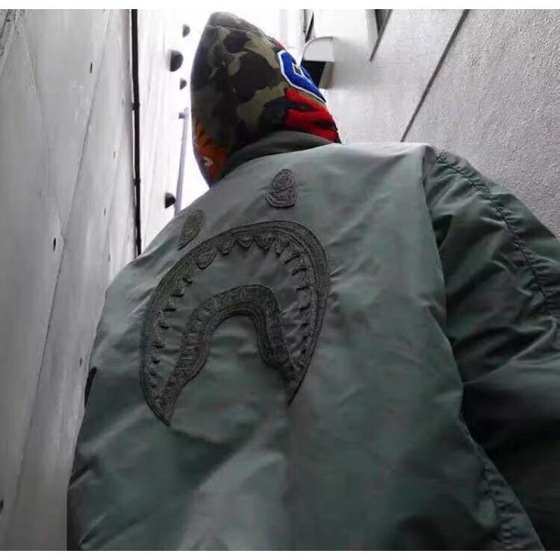 BAPE SHARK MA1 雙面穿鯊魚空軍飛行夾克棉服