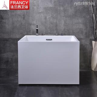 亞克力正方形小浴缸獨立式成人家用小戶型自帶龍頭浴缸加深日式方