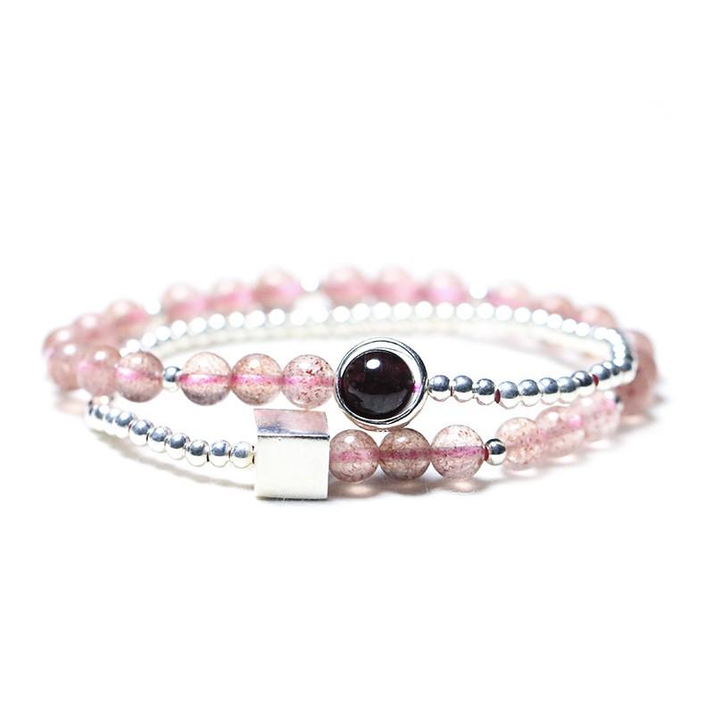 【新品下殺】原創設計 草莓晶手鏈女簡約S925純銀飾品手串ins風送女友禮物