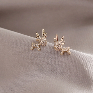 韓版滿鑽時尚小鹿耳環 簡約氣質S925純銀針耳釘女 三色可選 玫瑰金耳釘 一鹿有你