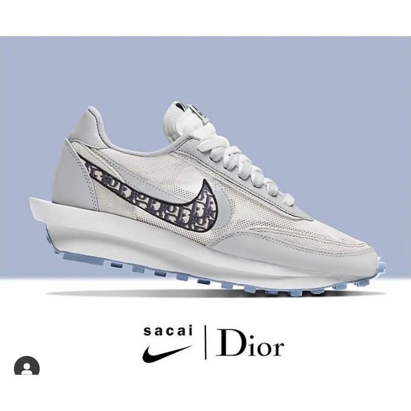 NIke x Sacai x Dior聯名 華夫迪奧雙勾雙鞋舌休閒慢跑鞋 透明呼吸網紗 男女休閒鞋