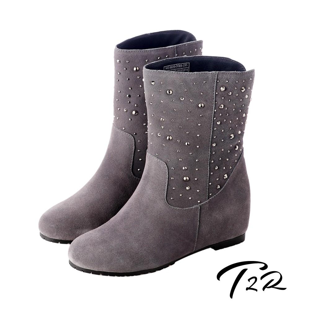 【T2R】奢華水鑽真皮內增高短靴 灰增高 7cm 5600-0083