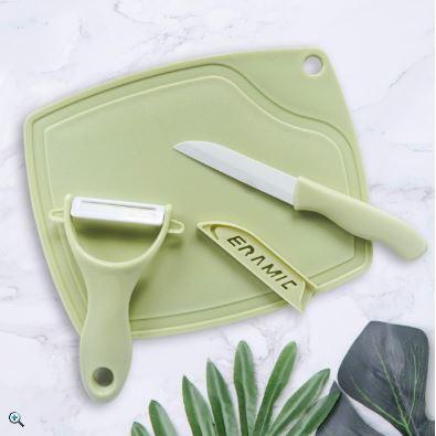 馬卡龍輕巧三件式陶瓷刀具組 陶瓷水果刀削皮器砧板三件套